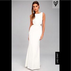 LULU'S White Cutout Gown /Wedding Dress Size S